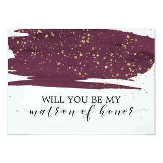 Watercolor Marsala Will You Be My Matron Of Honor Card