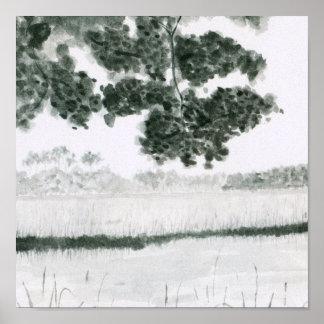Watercolor Marsh scene Print