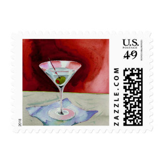 Watercolor Martini Glass with Olive Red Postage Stamp