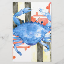 Watercolor maryland flag and blue crab