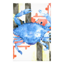 Watercolor maryland flag and blue crab stationery