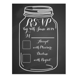 watercolor mason jar wedding RSVP card chalkboard
