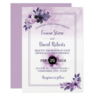 Watercolor Mauve Floral Elegant Spring Wedding Card