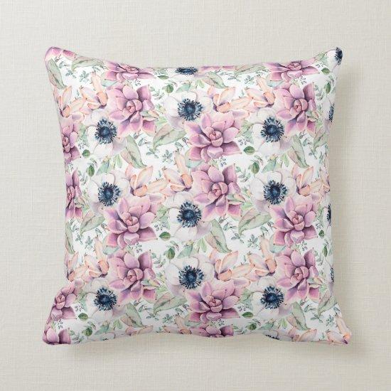 Watercolor Mauve Succulents White Anemones Leaves Throw Pillow