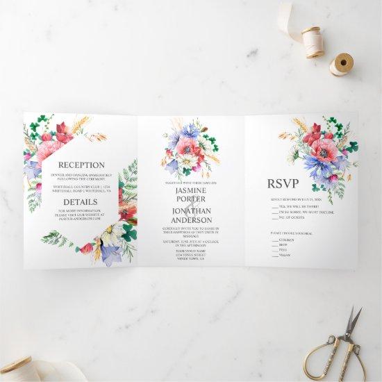Watercolor Meadow Wildflowers Wedding   Tri-Fold Invitation
