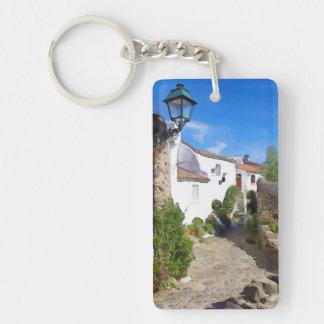 Watercolor Mediterranean village Keychain
