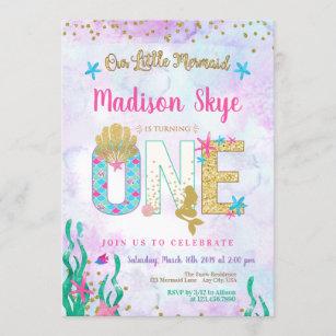 mermaid 1st birthday invitations zazzle