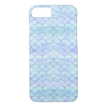 Beach Themed Watercolor Mermaid Fish Scale Pattern Blue Purple iPhone 8/7 Case