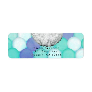 Beach Themed Watercolor Mermaid Scale Birthday Party Invitation Label