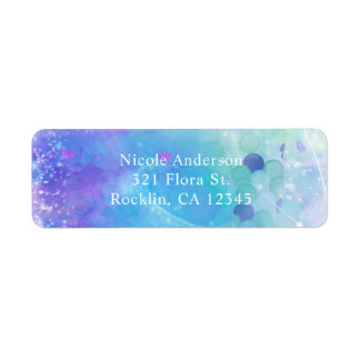 Watercolor Mermaid Tail Birthday Party Invitation Label