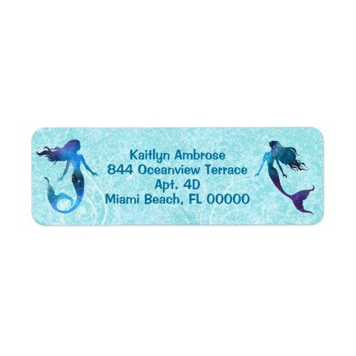 Watercolor Mermaid Under the Sea Label