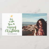 Watercolor Merry Christmas Green Typography Photo Holiday Card