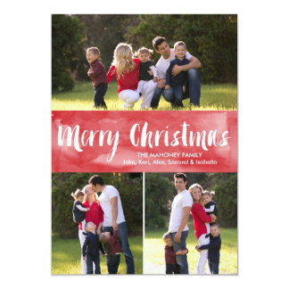 Watercolor Merry Christmas   Holiday Photo Card