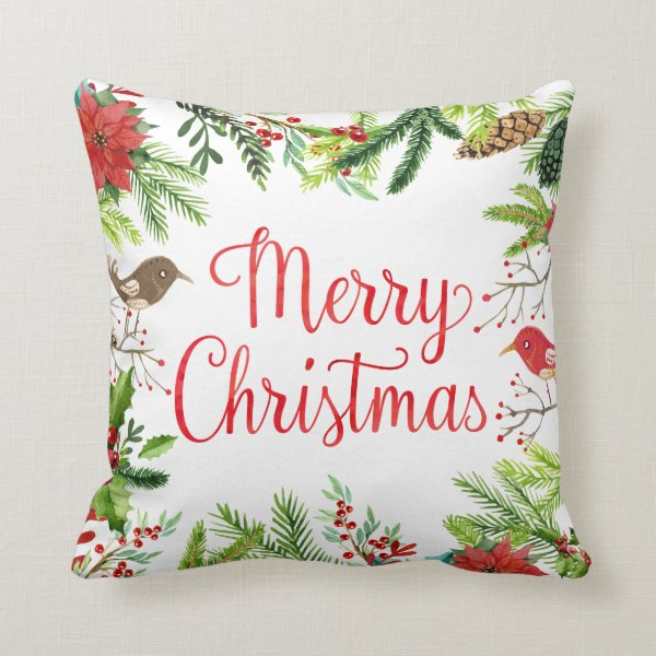 Watercolor Merry Christmas Throw Pillow