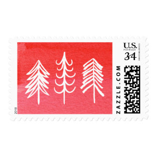 Watercolor Merry Christmas Tree Postage Stamp