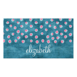 Watercolor Messy Polka Dots - blue and pink Business Card Template