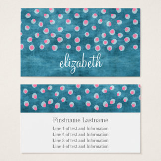 Watercolor Messy Polka Dots - blue and pink Business Card