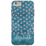 Watercolor Messy Polka Dots - blue and pink Tough iPhone 6 Plus Case