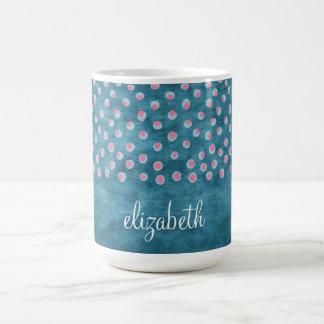 Watercolor Messy Polka Dots - blue and pink Coffee Mug
