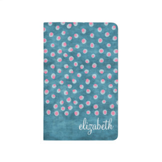 Watercolor Messy Polka Dots - blue and pink Journal