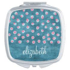 Watercolor Messy Polka Dots - Blue And Pink Makeup Mirror at Zazzle