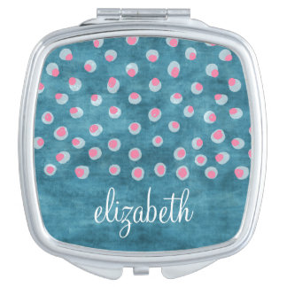 Watercolor Messy Polka Dots - blue and pink Makeup Mirror