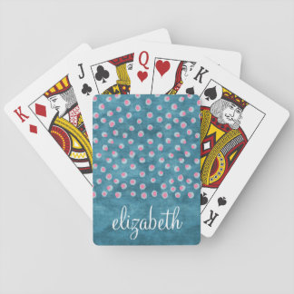 Watercolor Messy Polka Dots - blue and pink Poker Cards