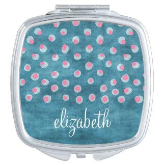 Watercolor Messy Polka Dots - blue and pink Makeup Mirrors