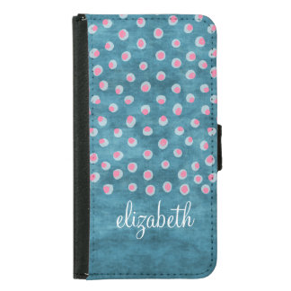 Watercolor Messy Polka Dots - blue and pink Samsung Galaxy S5 Wallet Case