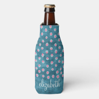 Watercolor Messy Polka Dots - blue and pink Bottle Cooler