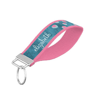 Watercolor Messy Polka Dots - blue and pink Wrist Keychain