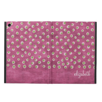Watercolor Messy Polka Dots - lime and hot pink Cover For iPad Air