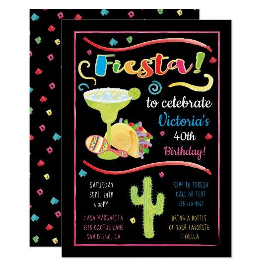 Watercolor Mexican Fiesta Birthday Invitation
