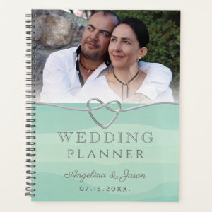 Watercolor Mint and Silver Heart Wedding Photo Planner
