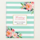 "Watercolor Mint Stripes Floral Wedding Planner<br><div class=""desc"">Watercolor Mint Stripes Floral Wedding Planner.</div>"
