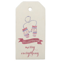 watercolor mittens christmas Holidays Gift Tag