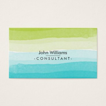 Beach Themed Watercolor Modern Abstract Teal Green Beach Business Card