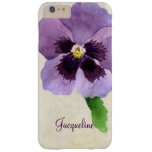 Watercolor Modern Bold Pansy Floral Personalized Barely There iPhone 6 Plus Case