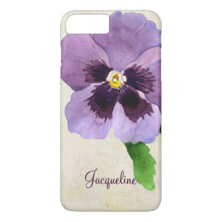 Watercolor Modern Bold Pansy Floral Personalized iPhone 7 Plus Case