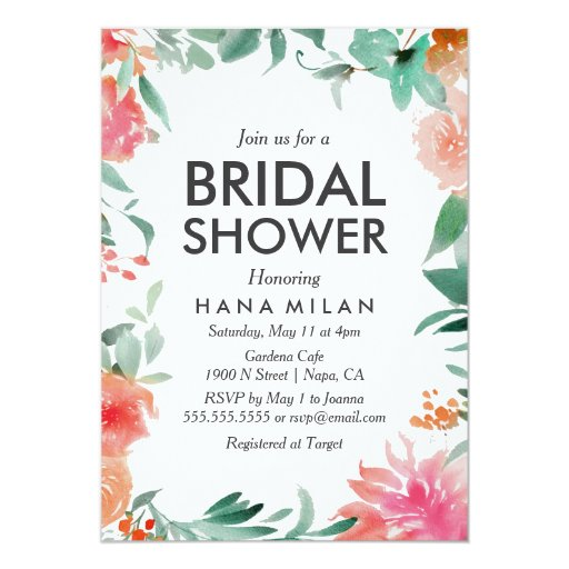 Watercolor modern bridal shower invitation zazzle for Modern bridal shower invitations
