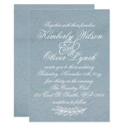 Modern Calligraphy Dusky Blue Wedding Invitations
