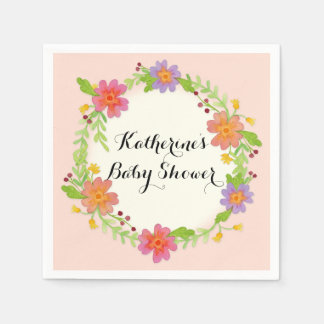 Watercolor Modern Floral Baby Shower Party Decor Napkin