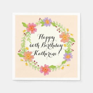 Watercolor Modern Floral Birthday Party Decor Paper Napkin
