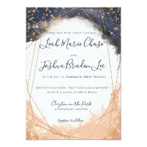 Watercolor Modern Indigo Blue and Rose Faux Gold Card