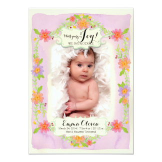 Watercolor Modern Painterly Floral Baby Girl Birth Card