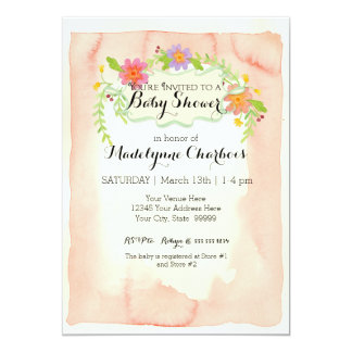 Watercolor, Modern Painterly Floral  Baby Shower Card