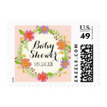 Watercolor Modern Painterly Floral Baby Shower Postage