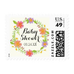 Watercolor Modern Painterly Floral Baby Shower Postage Stamps