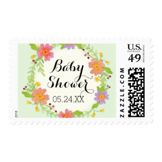 Watercolor Modern Painterly Floral Baby Shower Postage Stamp
