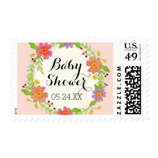 Watercolor Modern Painterly Floral Baby Shower Stamp